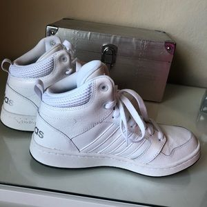 Adidas cloudform high top white sneakers